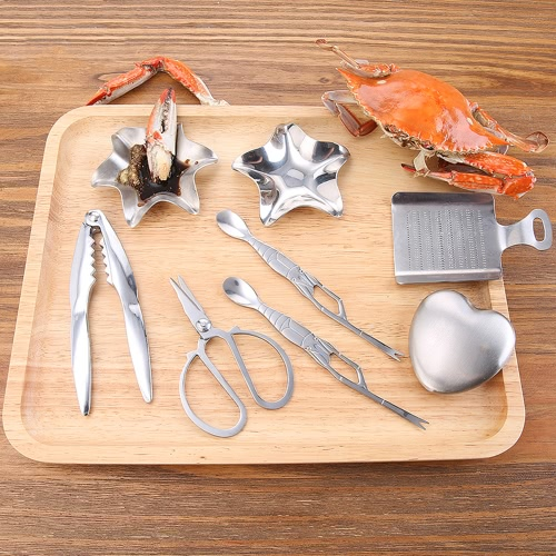Lhopan 8pcs/set Stainless Steel Crab Cracker Spoon Fork Scissors Sauce Dish Ginger Grinder Steel Soap Seafood Lobster Crackers ToHome &amp; Garden<br>Lhopan 8pcs/set Stainless Steel Crab Cracker Spoon Fork Scissors Sauce Dish Ginger Grinder Steel Soap Seafood Lobster Crackers To<br>