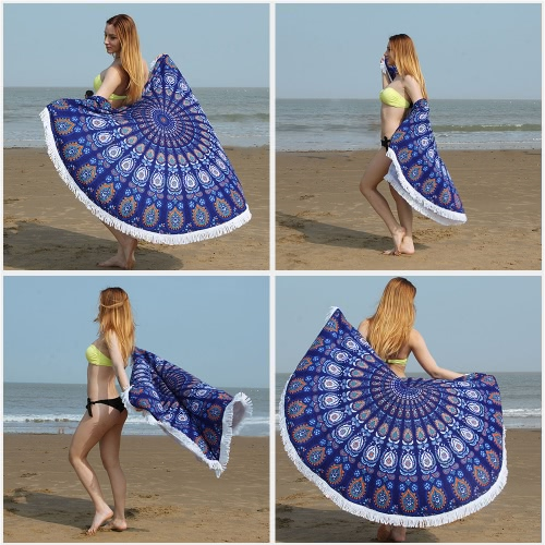 150cm Diameter Round Indian Mandala Beach Towel Wall Hanging Tapestry Mat Picnic Blanket Beach Shawl with Fringe Tassels for HolidHome &amp; Garden<br>150cm Diameter Round Indian Mandala Beach Towel Wall Hanging Tapestry Mat Picnic Blanket Beach Shawl with Fringe Tassels for Holid<br>