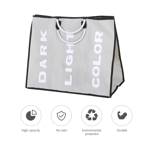 3-Section Large Foldable Oxford Laundry Basket Bag Dirty Clothes Storage Bag Organizer with Aluminum HandlesHome &amp; Garden<br>3-Section Large Foldable Oxford Laundry Basket Bag Dirty Clothes Storage Bag Organizer with Aluminum Handles<br>