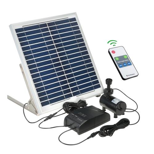 Decdeal Fuente de energía solar multifuncional 15W Panel solar + 3.6W Kit de bomba de agua sin escobillas con batería de almacenamiento Control remoto para Garden Pond Bird Bath