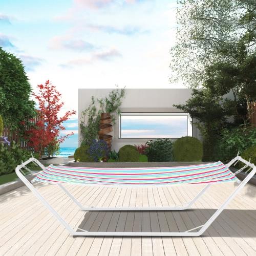 IKAYAA 2.22 * 0.8M portátil patio al aire libre el recorrido que acampa Hamaca con soporte para jardín piscina 150kg Capacidad
