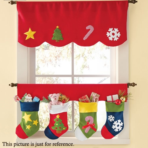 Festnight 2pcs/Set Door Window Curtains Christmas Stockings Decoration Decor Pennant Bunting Valance Christmas Decoration SuppliesHome &amp; Garden<br>Festnight 2pcs/Set Door Window Curtains Christmas Stockings Decoration Decor Pennant Bunting Valance Christmas Decoration Supplies<br>