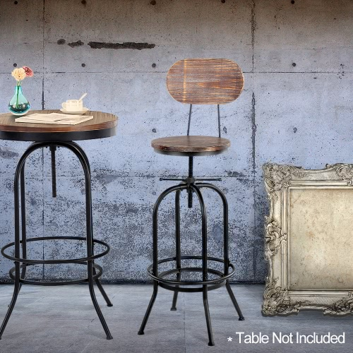 IKayaa Tabouret de bar en style industriel Hauteur réglable pivotant Cuisine Chaise à manger en pin + en métal avec dossier