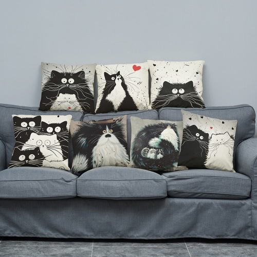 Cute Simple Fashionable White-and-Black Cat Cartoon Images Linen for Home Office Sofa Car Seat Decorative Square Grayish Linen CusHome &amp; Garden<br>Cute Simple Fashionable White-and-Black Cat Cartoon Images Linen for Home Office Sofa Car Seat Decorative Square Grayish Linen Cus<br>