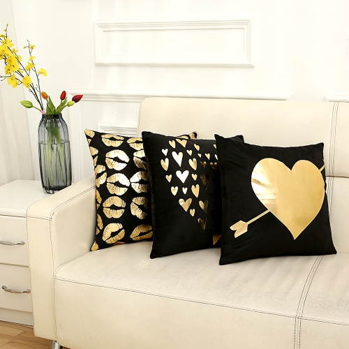Size 45*45 cm Comfortable Home Pillowcases Black Sofa Bed Pillow Cases Bronzing Cushion Cover Printed Cotton Letter Love Gilding DHome &amp; Garden<br>Size 45*45 cm Comfortable Home Pillowcases Black Sofa Bed Pillow Cases Bronzing Cushion Cover Printed Cotton Letter Love Gilding D<br>