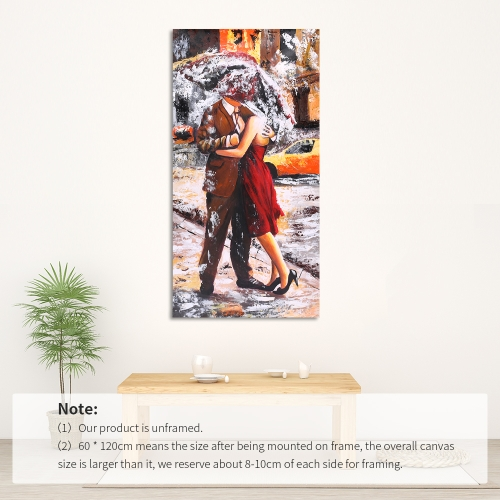 24 * 47 inches Unframed Waterproof Hand-Painted Oil Painting Abstract Kissing in the Rain Canvas Picture Wall Art Decor for LivingHome &amp; Garden<br>24 * 47 inches Unframed Waterproof Hand-Painted Oil Painting Abstract Kissing in the Rain Canvas Picture Wall Art Decor for Living<br>