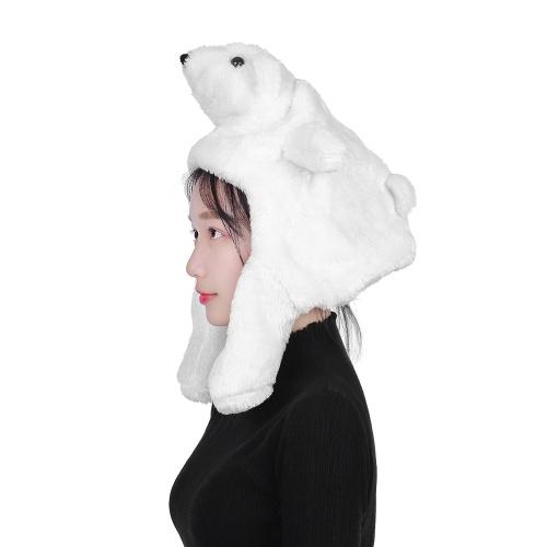 Cartoon Cap Warm Winter Hat Bianco