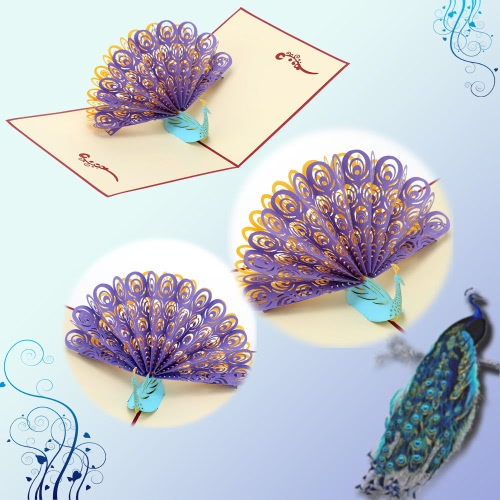 Handmade 3D Pop Up Birthday Card Kirigami Hollow Folding Greeting Christmas Postcard with Envelope Colorful Peacock DesignHome &amp; Garden<br>Handmade 3D Pop Up Birthday Card Kirigami Hollow Folding Greeting Christmas Postcard with Envelope Colorful Peacock Design<br>