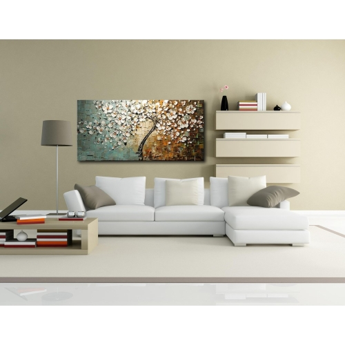 60*120cm Unframed Hand-painted Oil Painting Set Flower Tree Canvas Print Decoration for Home Living Room Bedroom Office Art PicturHome &amp; Garden<br>60*120cm Unframed Hand-painted Oil Painting Set Flower Tree Canvas Print Decoration for Home Living Room Bedroom Office Art Pictur<br>