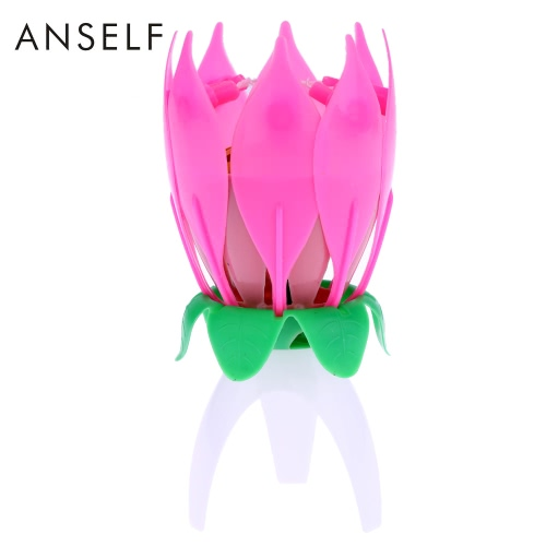 Anself Magical Lotus Flower Musical Candle Happy Birthday Blossom Romantic Cake Candle Party Decoration SupplyHome &amp; Garden<br>Anself Magical Lotus Flower Musical Candle Happy Birthday Blossom Romantic Cake Candle Party Decoration Supply<br>