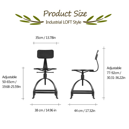 iKayaa Industrial Style Metal Bar Stool Ajustable Height Swivel Kitchen Dining Chair W/ BackrestHome &amp; Garden<br>iKayaa Industrial Style Metal Bar Stool Ajustable Height Swivel Kitchen Dining Chair W/ Backrest<br>