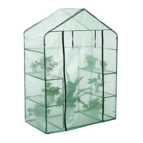 iKayaa Outdoor Garden 3 Layer Mini Walk In Greenhouse W/ 4 Shelves Reinforced PE Cover Metal Frame 143*73*195cm?L*W*H?Home &amp; Garden<br>iKayaa Outdoor Garden 3 Layer Mini Walk In Greenhouse W/ 4 Shelves Reinforced PE Cover Metal Frame 143*73*195cm?L*W*H?<br>