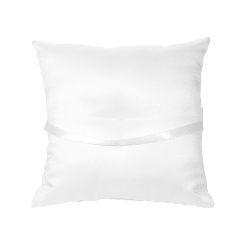 7 * 7 inches White Satin Flower Bowknot Wedding Ring Bearer Pillow Wedding Ceremony Decoration SuppliesHome &amp; Garden<br>7 * 7 inches White Satin Flower Bowknot Wedding Ring Bearer Pillow Wedding Ceremony Decoration Supplies<br>