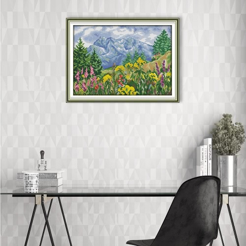 Decdeal DIY Handmade Needlework Cross Stitch Set 59 * 44cm Embroidery Kit 11CT Precise Printed Distant Mountain Cross-Stitching HoHome &amp; Garden<br>Decdeal DIY Handmade Needlework Cross Stitch Set 59 * 44cm Embroidery Kit 11CT Precise Printed Distant Mountain Cross-Stitching Ho<br>