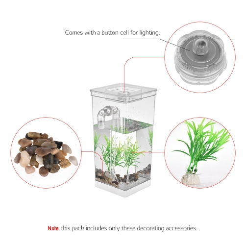 Self Cleaning Small Fish Tank Bowl Convenient Acrylic Desk Aquarium for Office Home Creative Gifts for ChildrenHome &amp; Garden<br>Self Cleaning Small Fish Tank Bowl Convenient Acrylic Desk Aquarium for Office Home Creative Gifts for Children<br>