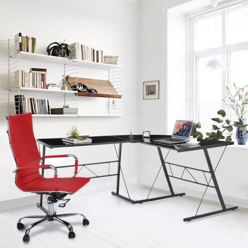 IKAYAA Современный L-образный уголок Компьютерный Стол для ноутбука PC Стол Офисная рабочая станция Закаленное стекло Top 100 кг Грузоподъемность для дома и офиса Мебель Столы