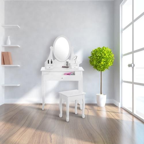 IKAYAA Fashion Vintage Vanity Dressing Table Set Make Up Jewelry Table & Stool Set W/ Oval Mirror Drawers Bedroom Furniture White