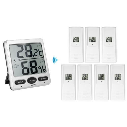 433MHz Wireless Indoor&amp;Outdoor 8-Channel Thermometer Hygrometer Thermo-hygrometer 2 Consoles + 1 Transmitter WS-07-C2Home &amp; Garden<br>433MHz Wireless Indoor&amp;Outdoor 8-Channel Thermometer Hygrometer Thermo-hygrometer 2 Consoles + 1 Transmitter WS-07-C2<br>