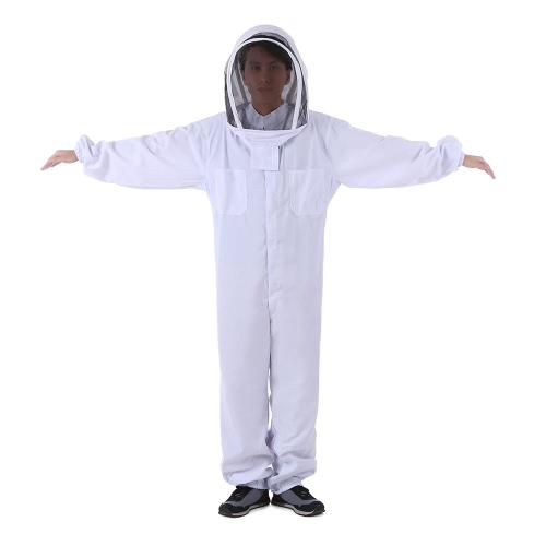 Пчеловодческое защитное оборудование Белый костюм для пчеловодства с съемным круглым прозрачным видом Фехтование Завесы для пчеловодства Полный комплект для тела Hat Smock XX-Large