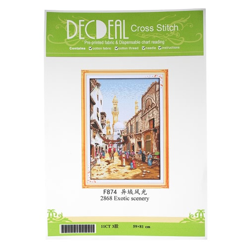 Decdeal DIY Handmade Needlework Cross Stitch Set 59 * 81cm Embroidery Kit 11CT Precise Printed Exotic Scenery Cross-Stitching HomeHome &amp; Garden<br>Decdeal DIY Handmade Needlework Cross Stitch Set 59 * 81cm Embroidery Kit 11CT Precise Printed Exotic Scenery Cross-Stitching Home<br>
