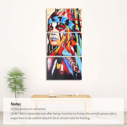 16 * 24 inches 3-Panel Unframed Waterproof Hand-Painted Oil Painting Abstract Indian Canvas Pictures Wall Art Decor for Living RooHome &amp; Garden<br>16 * 24 inches 3-Panel Unframed Waterproof Hand-Painted Oil Painting Abstract Indian Canvas Pictures Wall Art Decor for Living Roo<br>