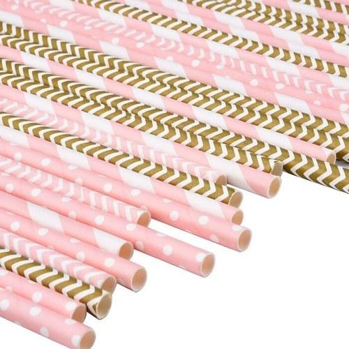 100pcs / set飲み紙ストロー装飾用品使い捨てのエコフレンドリーストレートストロー