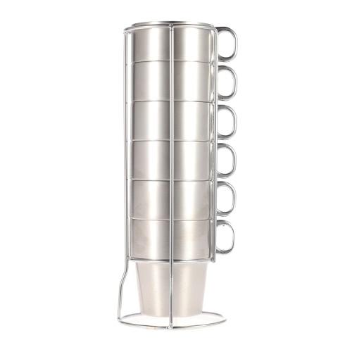 7pcs doble capa de acero inoxidable taza de café de té conjunto grueso beber tazas con estante del almacenaje