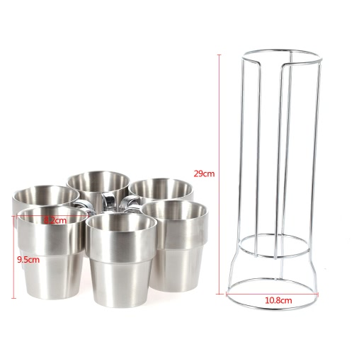 7PCS Double-layer Stainless Steel Coffee Tea Cup Set Thick Drink Mugs with Storage Shelf