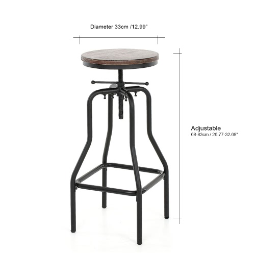 iKayaa Industrial Style Height Adjustable Swivel Bar Stool Natural Pinewood Top Kitchen Dining Breakfast ChairHome &amp; Garden<br>iKayaa Industrial Style Height Adjustable Swivel Bar Stool Natural Pinewood Top Kitchen Dining Breakfast Chair<br>