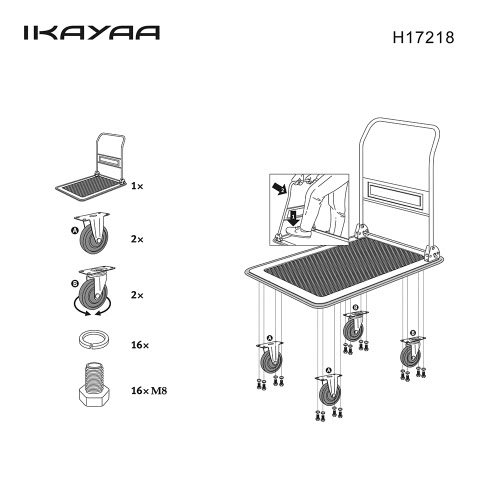 iKayaa Heavy-duty 150KG Capacity Folding Platform Truck Cart Warehouse Foldable Dolly Hand Truck 4 Wheels for Office Industry GardHome &amp; Garden<br>iKayaa Heavy-duty 150KG Capacity Folding Platform Truck Cart Warehouse Foldable Dolly Hand Truck 4 Wheels for Office Industry Gard<br>