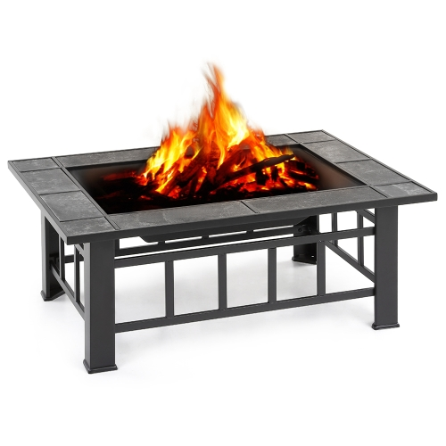 iKayaa Metal Garden Backyard Fire Pit Patio Rectangular Firepit Stove Brazier Outdoor Fireplace W/ Firepit Cover &amp; Poker + BBQ GriHome &amp; Garden<br>iKayaa Metal Garden Backyard Fire Pit Patio Rectangular Firepit Stove Brazier Outdoor Fireplace W/ Firepit Cover &amp; Poker + BBQ Gri<br>