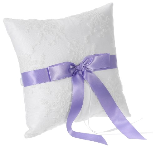 7 * 7 inches Ivory White Satin Purple Bowknot Ring Bearer Pillow and Wedding Flower Girl Basket SetHome &amp; Garden<br>7 * 7 inches Ivory White Satin Purple Bowknot Ring Bearer Pillow and Wedding Flower Girl Basket Set<br>