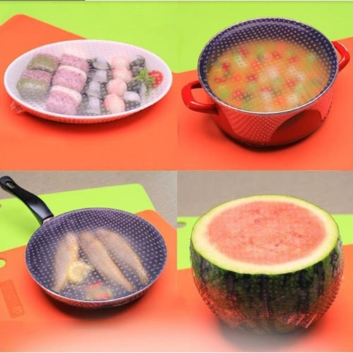 4 Pieces of Silicone Food Preservation Film Seal Multi-function Bowl Cover Fresh Keeping Plastic WrapHome &amp; Garden<br>4 Pieces of Silicone Food Preservation Film Seal Multi-function Bowl Cover Fresh Keeping Plastic Wrap<br>
