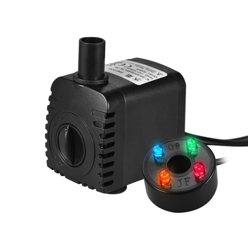 600L/H 8W Submersible Water Pump with 4 LED Light 2 Diameter Nozzles Ultra Quiet for Pond Aquarium Fish Tank Tabletop Fountain HydHome &amp; Garden<br>600L/H 8W Submersible Water Pump with 4 LED Light 2 Diameter Nozzles Ultra Quiet for Pond Aquarium Fish Tank Tabletop Fountain Hyd<br>