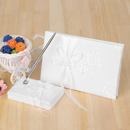 White Satin Ribbon Wedding Guest Signature Book and Pen Stand Set with Flower Embroidery PatternHome &amp; Garden<br>White Satin Ribbon Wedding Guest Signature Book and Pen Stand Set with Flower Embroidery Pattern<br>