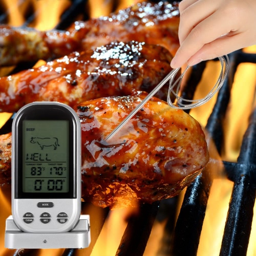 LCD Wireless Cooking Food Thermometer Timer Digital Probe Meat Thermometer Barbecue Kitchen BBQ Temperature GaugeHome &amp; Garden<br>LCD Wireless Cooking Food Thermometer Timer Digital Probe Meat Thermometer Barbecue Kitchen BBQ Temperature Gauge<br>