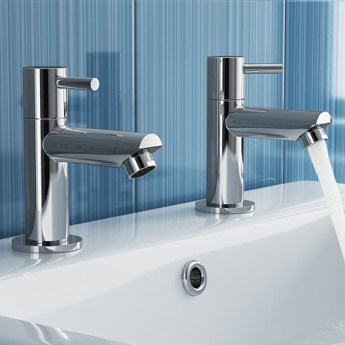 Homgeek Elegant Modern High-quality Chromed Twin Pair Bathroom Faucet Brass Deck Mount Basin Sink Double Tap for Hot and Cold WateHome &amp; Garden<br>Homgeek Elegant Modern High-quality Chromed Twin Pair Bathroom Faucet Brass Deck Mount Basin Sink Double Tap for Hot and Cold Wate<br>