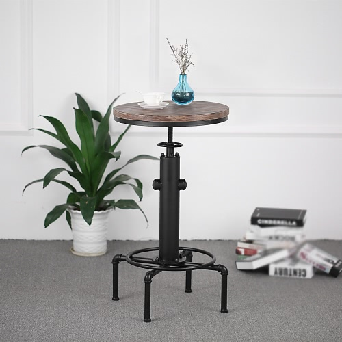 iKayaa Pinewood Top Round Pub Bar Table Height Adjustable Swivel Counter Bistro Table Industrial Pipe Style Kitchen Dining Table