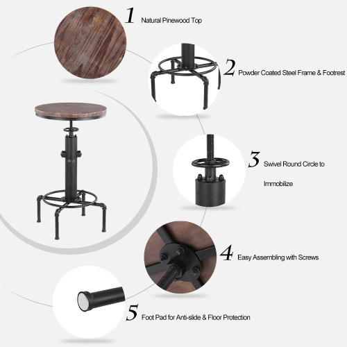 iKayaa Pinewood Top Round Pub Bar Table Height Adjustable Swivel Counter Bistro Table Industrial Pipe Style Kitchen Dining TableHome &amp; Garden<br>iKayaa Pinewood Top Round Pub Bar Table Height Adjustable Swivel Counter Bistro Table Industrial Pipe Style Kitchen Dining Table<br>