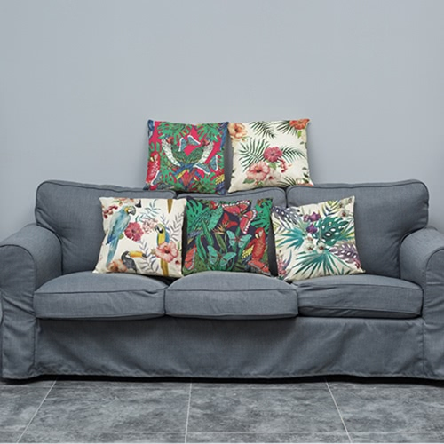 Fashionable Elegant Colorful High-quality African Tropical Plants Leaves Flowers Linen Printed Square Throw Pillow Covers PillowcaHome &amp; Garden<br>Fashionable Elegant Colorful High-quality African Tropical Plants Leaves Flowers Linen Printed Square Throw Pillow Covers Pillowca<br>