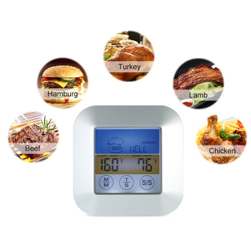 Digital Touchscreen BBQ Thermometer with Probe Color LCD Display Meat Cooking Timer Meat Type Taste SelectionHome &amp; Garden<br>Digital Touchscreen BBQ Thermometer with Probe Color LCD Display Meat Cooking Timer Meat Type Taste Selection<br>