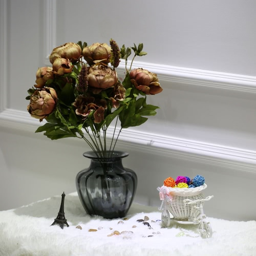 Anself European Style High Quality Flower Bouquet Vivid Artificial Flower Vintage Simulation Peony Flowers Decoration for Home Hotel Wedding Party