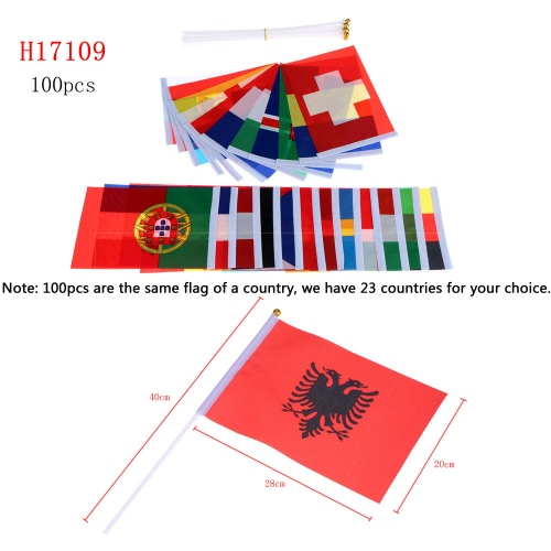 Anself 100pcs 2016 European Cup Olympic Games World Handheld Flag with Flagpole Flag for Euro 2016 International Day Sports EventsHome &amp; Garden<br>Anself 100pcs 2016 European Cup Olympic Games World Handheld Flag with Flagpole Flag for Euro 2016 International Day Sports Events<br>