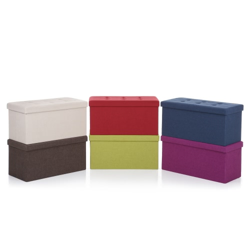 iKayaa Modern Linen Fabric Folding Storage Ottoman Bench Large Rectangle Foot Rest Pouffe Storage Box Stool Instant Coffee TableHome &amp; Garden<br>iKayaa Modern Linen Fabric Folding Storage Ottoman Bench Large Rectangle Foot Rest Pouffe Storage Box Stool Instant Coffee Table<br>