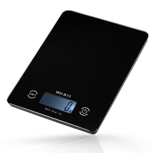 5KG / 1G LCD tela de toque Accurate Backlight Digital Kitchen Food Scale G / LB / OZ Balança Eletrônica de peso para a função de cozimento Cozinhar Tare