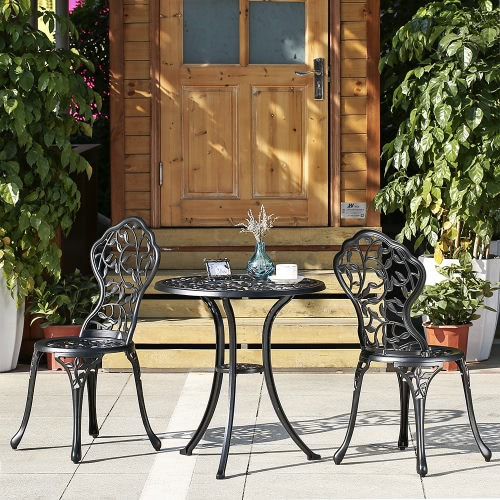 Ikayaa 3pcs Modern Outdoor Patio Bistro Set Aluminum Porch Balcony Garden Table Chairs Furniture Leaves Design Black