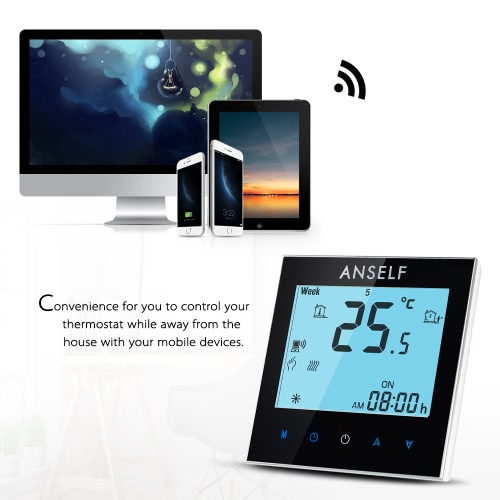 Anself 3A 110~240V Water Heating Energy Saving WIFI Smart Thermostat with Touchscreen LCD Display Durable Programmable TemperatureHome &amp; Garden<br>Anself 3A 110~240V Water Heating Energy Saving WIFI Smart Thermostat with Touchscreen LCD Display Durable Programmable Temperature<br>