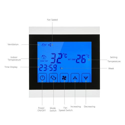 110-130V Air Conditioner 2-pipe Thermostat with LCD Display Good Quality Touch Screen Programmable Room Temperature Controller HomHome &amp; Garden<br>110-130V Air Conditioner 2-pipe Thermostat with LCD Display Good Quality Touch Screen Programmable Room Temperature Controller Hom<br>