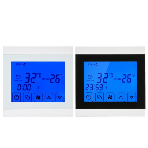 220-230V Air Conditioner 2-pipe Thermostat with LCD Display Good Quality Touch Screen Programmable Room Temperature Controller HomHome &amp; Garden<br>220-230V Air Conditioner 2-pipe Thermostat with LCD Display Good Quality Touch Screen Programmable Room Temperature Controller Hom<br>