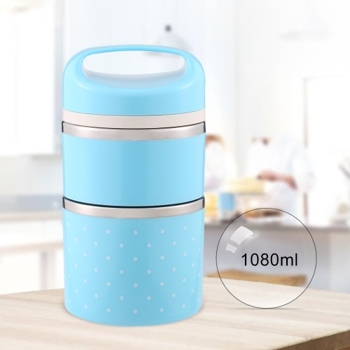 1080ml 2-Layer Good Quality Stainless Steel Thermal Lunch Box Practical Handy Insulation Lunch Box Multifunctional Heat &amp; Cold PreHome &amp; Garden<br>1080ml 2-Layer Good Quality Stainless Steel Thermal Lunch Box Practical Handy Insulation Lunch Box Multifunctional Heat &amp; Cold Pre<br>